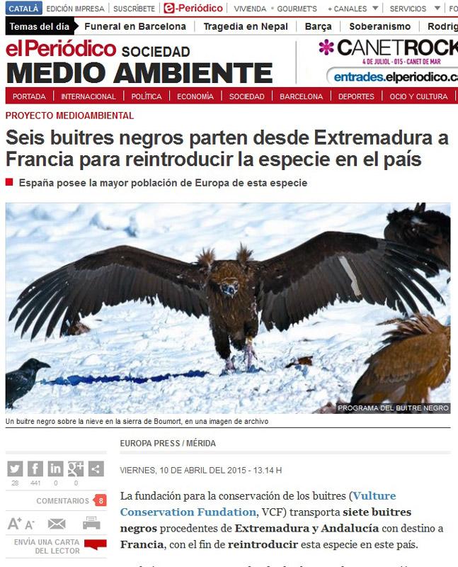 article vautours moines dans el periodico