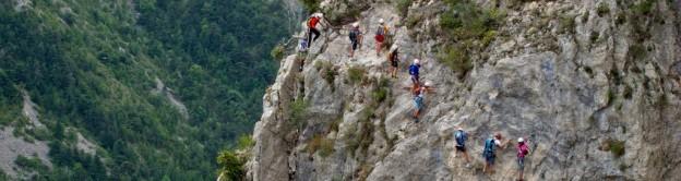 Via ferrata dans les Alpes avec Equilibre Vertical