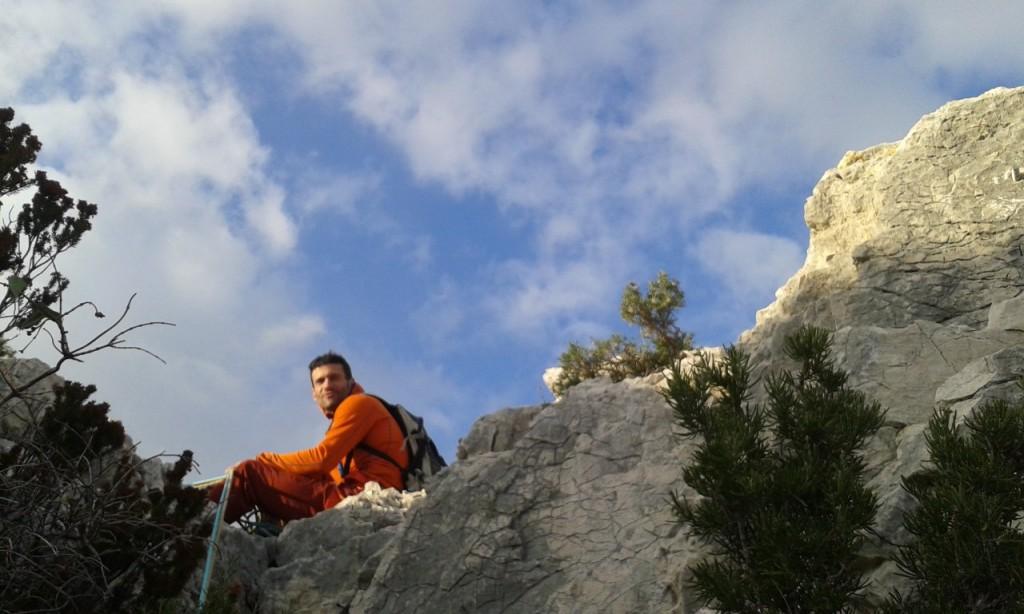 Eric au sommet de la grande arête du Devenson (Calanques)