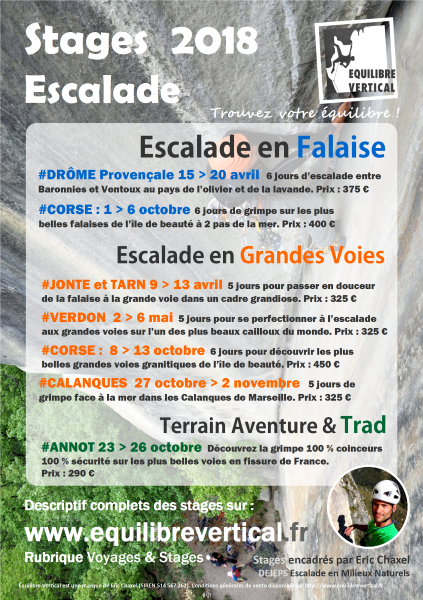 stages escalade 2018