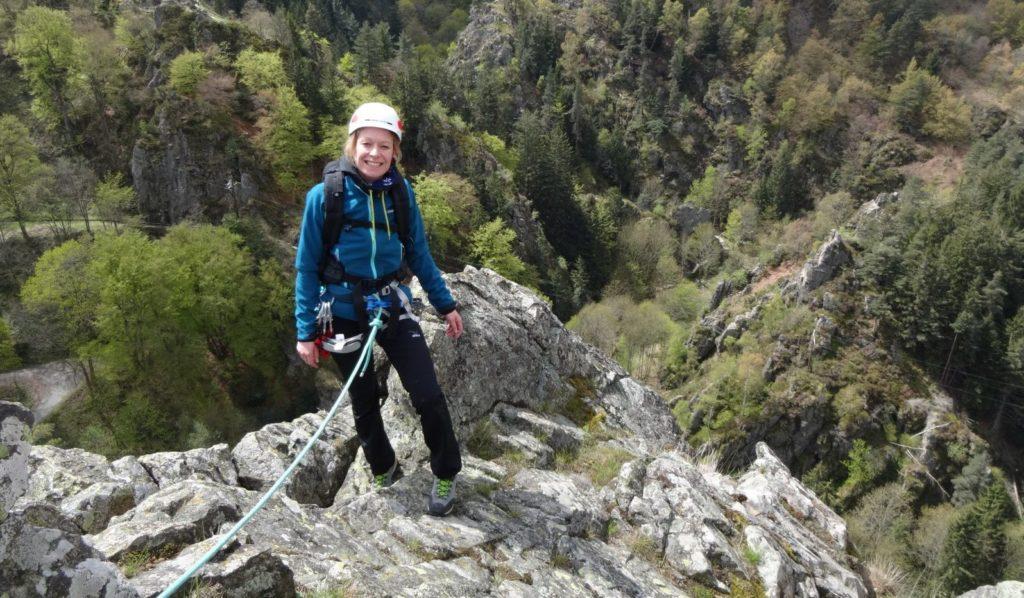 Escalade à Roche Corbière dans le massif du Pilat