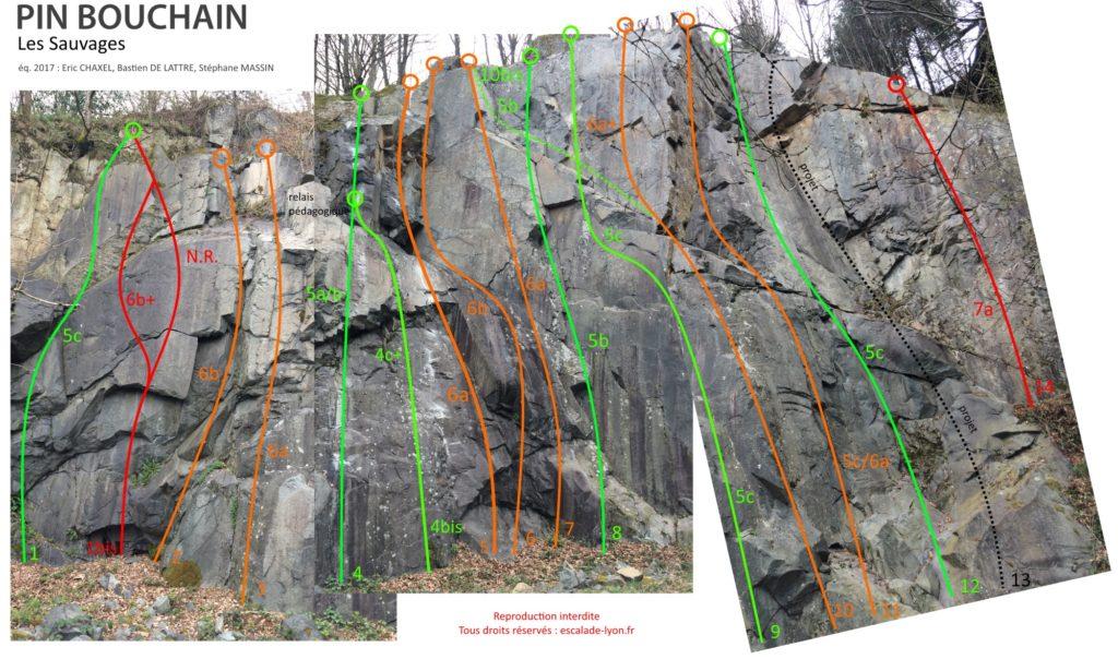 topo-les-sauvages-escalade-lyon-2019
