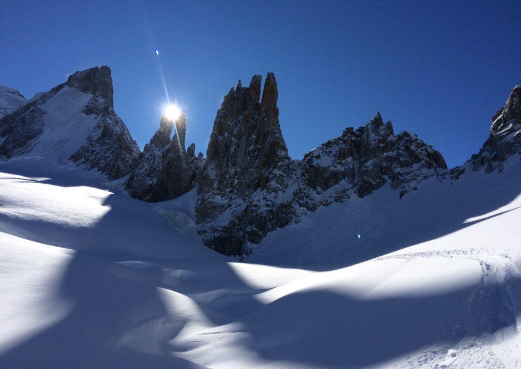 coucher soleil aiguilles périades chamonix glacier mont mallet