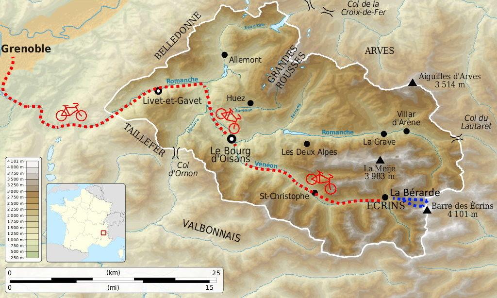 carte-grenoble-oisans-vélo-alpinisme-écrins-oisans