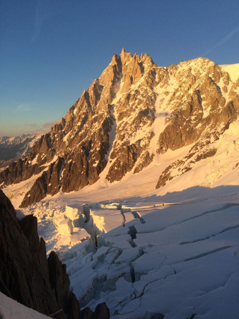 alpinisme montagne aiguille midi couloir cosmiques glacier rond
