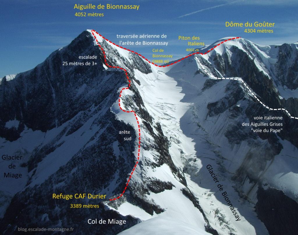 topo guide alpinisme montagne topo bionnassay glacier miage goûter escalade chamonix