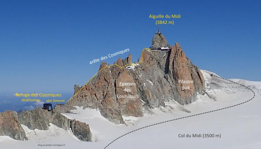 topo arête cosmiques alpinisme montagne aiguille midi escalade