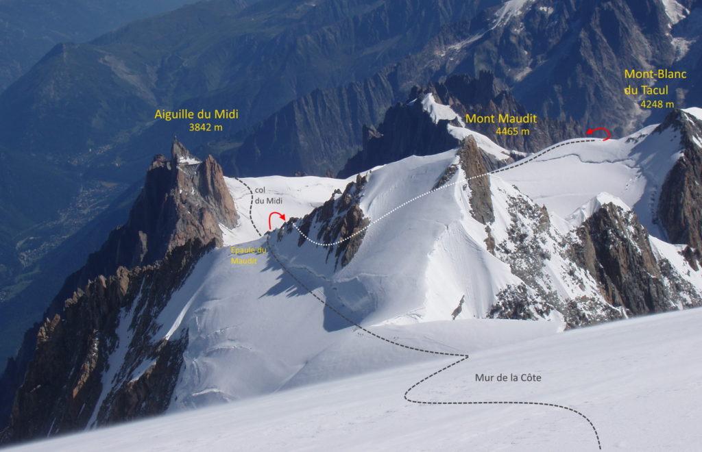 3 monts maudit tacul mont-blanc topo aiguille du midi