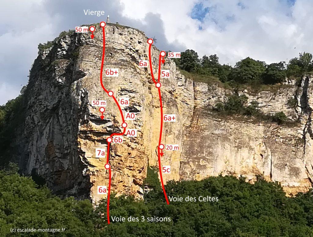 topo-escalade-pilier-vierge-hières sur amby-voie-des-celtes-3-saisons