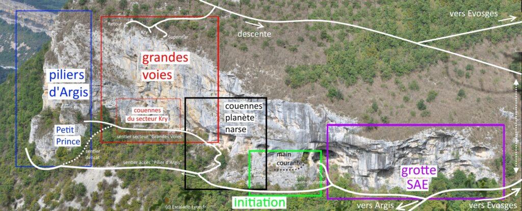 topo-escalade-roche-narse-accès-secteurs