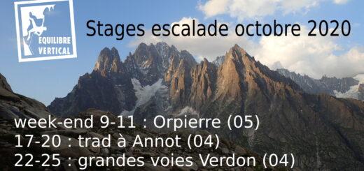 stage escalade octobre 2020 eric chaxel orpierre verdon annot trad grandes voies falaise